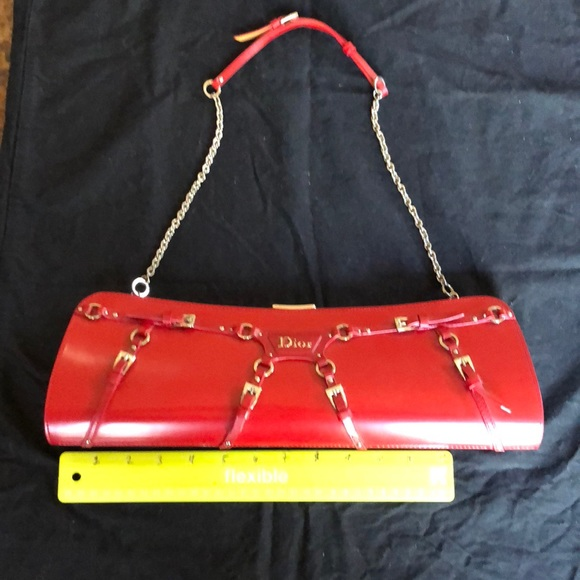 554761b7cb61 Dior Handbags - Dior Vintage Red Leather Clutch w  Shoulder Chain